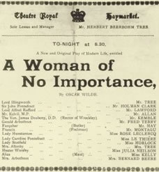 A Woman Of No Importance - program from 1890